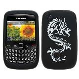 Samrick Coque de protection en TPU/silicone avec film protecteur d'�cran et chiffon en microfibre pour BlackBerry 8520 Curve 2G/9300 Curve 3G Motif dragon Noir/blanc