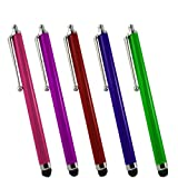 Samrick High Capacitive Aluminium Stylus Pen for HTC Advantage X7500 - Pink/Purple/Red/Blue/Green (Pack of 5)
