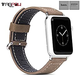 Apple Watch Band, TabPow HOCO [Outdoor Band Series] Dual Tone Genuine Leather Watch Band Strap for Apple Watch 42mm [Special Edition Rugged Outdoor]