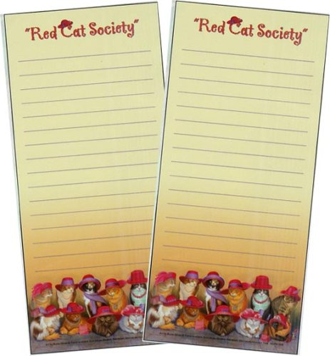 Leanin' Tree Red Cat Society (Magnetic List Pad)- Package of 2 List Pads