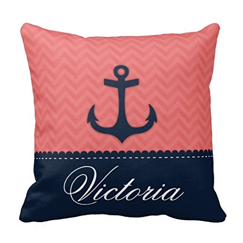 Nautical Coral Pink Navy Blue Anchor Custom Name Pillow Case 18