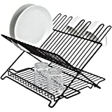 Better Houseware 1483 Junior Folding Dish Rack, Black