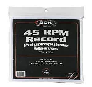 BCW 45 Record Sleeves 7 3/8 X 7 5/8 100 Pack