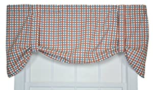 Charlestown Check Tie Up Valance Window Curtain, Patriot