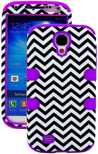 "Mylife (Tm) Purple - Chevron Design (3 Piece Hybrid) Hard And Soft Case For The Samsung Galaxy S4 ""Fits Models: I9500, I9505, Sph-L720, Galaxy S Iv, Sgh-I337, Sch-I545, Sgh-M919, Sch-R970 And Galaxy S4 Lte-A Touch Phone"" (Fitted Front And Back Solid Cover"
