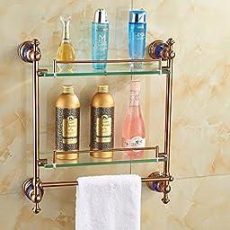 Senlesen Bathroom Shelf Dual Glass Tiers Caddy Storage Rose Gold Finish