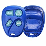KeylessOption Replacement Glow in The Dark Keyless Entry Remote Key Fob Shell Case and Button Pad -Blue