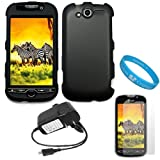 Black Durable Two Piece Rubberized Protector Case for HTC T Mobile MyTouch 4G + Clear Screen Protector + Rapid Travel Wall Charger + SumacLife TM Wisdom Courage Wristband