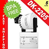 """BROTHER-Compatible DK-2205 Continuous Paper Labels with ONE (1) reusable black cartridge (2-4/9"""" x 100; 62mm*30.48m) -- BPA Free! (5 Rolls; Continuous Paper)"""