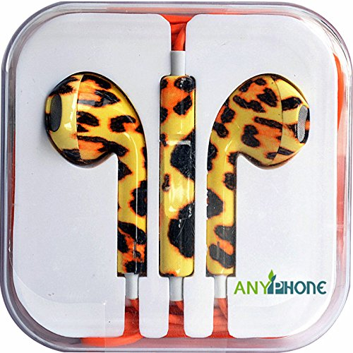 Anyphone Colorful Luxury Headset Headphone Earphone Volume Remote+Mic For Iphone4 5 Ipad3 4 Ipod (13.Tiger Stripe)