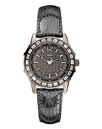 Guess Girly B W0019L2 - Reloj analógico de cuarzo para mujer, correa de cuero color gris