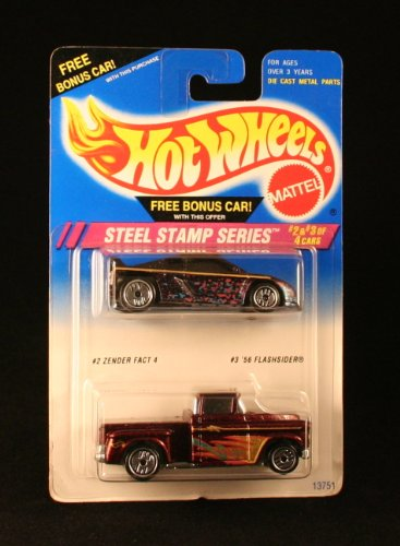 ZENDER FACT 4 (#2 of 4) & '56 FLASHSIDER (#3 of 4) * STEEL STAMP SERIES * HOT WHEELS 1994 Basic Car Series * BONUS 2-PACK *