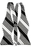 Self Bow Tie with Pocket Square Black and White Woven Stripe Design
