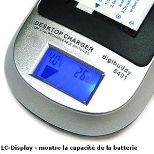 Mertrado - Le Chargeur Intelligent Li-Ion avec LC-Display - Chargeur de batterie NP-60 Fuji / Casio NP-30 / Kodak Klic-5000 / Pentax D-LI2 / Ricoh DB-40 / Samsung SLB-1037 / SLB-1137 et Adaptateur chargeur USB