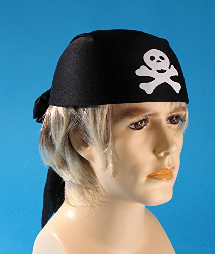 Loftus International Pirate Skull and Crossbones Head Scarf, Black, One Size - 1