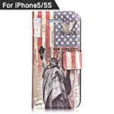 CO.JOY Art Series Vintage Retro case Magnet Design Flip Case Cover For Apple iPhone 5/5S with Screen Protector+Stylus included New York City (Apple iPhone 5/5S, Pattern-116)