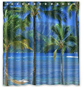 Amazon Personalized Hawaiian Fabric PEVA Shower