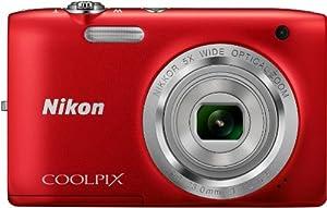 """Nikon CoolpixS2800 Appareil photo numérique compact 20,48 Mpix Écran LCD 2,7"""" Zoom optique 5X Rouge"""