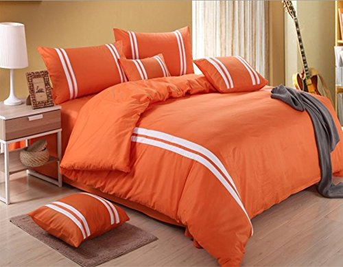Melife® 4 Pieces Sport Style Reactive Printing Assorted Colors Bedding Set Duvet Cover Sheet Pillow Case Bed-Linen (Orange Red) front-373514