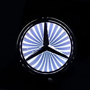 3d white led mercedes benz logo badge light