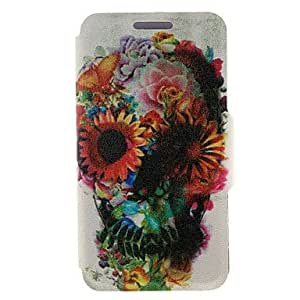 GENERIC Kinston Flower Decorated Skull Coloured Drawing Pattern PU Leather Full Body Case with Stand for Motorola Moto X #02296044