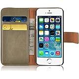 JAMMYLIZARD | Ledertasche Retro Wallet Hülle für iPhone 5 und 5S, CAPPUCCINO