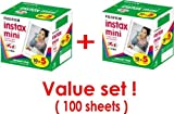 Fujifilm Instax Mini Instant Film, 10Sheets-5Pack×2 Packs(total 100 Sheets) Value Set(with Values Japan Original Discription of Goods)