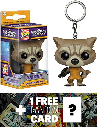 Rocket Raccoon: Pocket POP! x Guardians of the Galaxy Mini-Figure Keychain + 1 FREE Official Marvel Trading Card Bundle [67311]