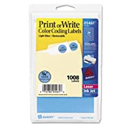Print or Write Removable Color-Coding Labels, 3/4in dia, Light Blue, 1008/Pack