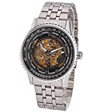 SHENHUA SH077 Fashion Men''s Boys Hollow-out Skeleton Round Dial Stainless Steel Band Automatic Mechanial Wrist Watch