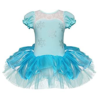 Girls Elegant Snowflake Princess School Ballet Dance Wear Party Dress