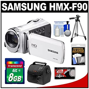 Samsung HMX-F90 HD Digital Video Camcorder (White) with 8GB Card + Case + Tripod + Accessory Kit