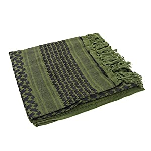 Anself 110*110cm Military Arabian Shemagh Tactical Desert Head Scarf Fringed Shawl Stole Muffler Headdress Unisex 100% Cotton Army Green from Anself