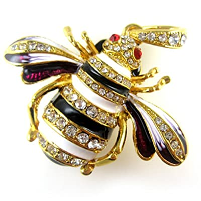Gold Lovely Bee&White Crystals 8GB Jewelry USB 2.0 Flash Memory Pen Drive Pendant for Necklace by pengyuan