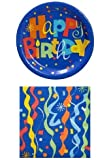 Happy Birthday Party Pack - 18 Plates and 20 Napkins