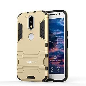 Heartly Graphic Designed Kick Stand Hard Dual Rugged Armor Hybrid Bumper Back Case Cover For Motorola Moto G Plus 4th Gen / Moto G4 Plus / Moto G4 - Mobile Gold