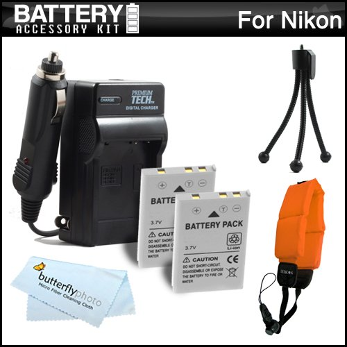 2 Pack Battery And Charger Kit For Nikon COOLPIX AW110, AW100 Waterproof Digital Camera Includes 2 Extended Replacement (1050Mah) EN-EL12 Batteries + Ac/Dc Travel Charger + FLOAT STRAP + Mini Tripod + MicroFiber Cleaning ClotH