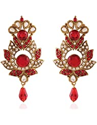 I Jewels Tradtional Gold Plated Kundan & Stone Earrings For Women(Red)(E2185R)