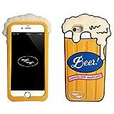 GuoDuo iPhone 7 plus 専用 ケース カバー アイフォン7プラス専用ケース おもしろ かわいい 3D シリコン 保護ケース 携帯ケース (iPhone 7, イエロー/ビール)