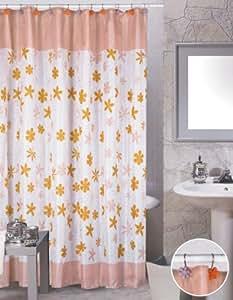 Amazon Modern Floral Pink Orange Bathroom Shower