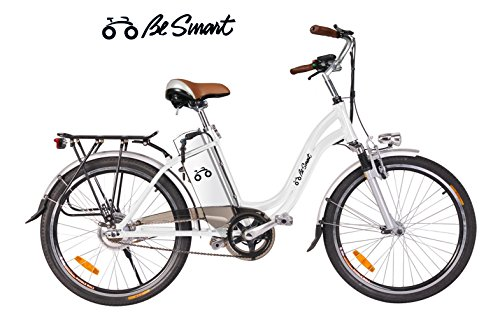 """Be Smart-bicicletta-elettrica-city-bike cerchi da 24"""" alluminio-colore-bianca"""