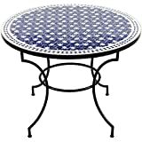 Marokkanischer Mosaiktisch Maar 100 cm blau rund Gartentisch Fliesentisch Esstisch mediterraner Mosaik - Tisch
