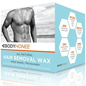 Hair Removal Waxing Kit Men + Women, All Natural | BodyHonee (8.8 Oz)