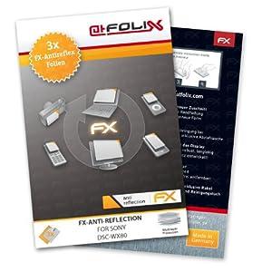 atFoliX FX-Antireflex Pellicola protettiva per Sony DSC-WX80 (3 pezzi) - Pellicola protettiva per display antiriflesso! Alta qualità