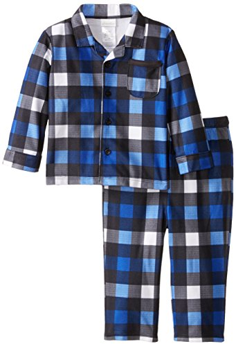 ABSORBA Baby Boys' Blue and White Plaid Coat Pajamas, Multi, 18 Months