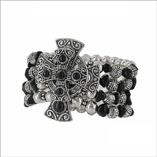 JOA Two Crosses W Four Line Bead Bracelet #040812