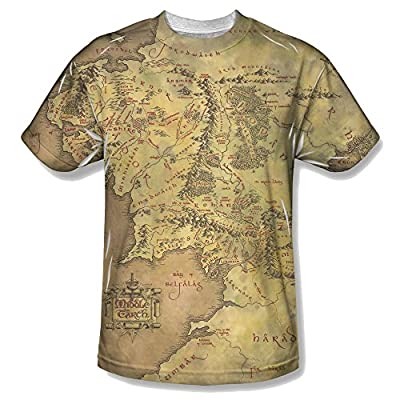 Lord Of The Rings Trilogy Middle Earth Map All Over Front T-Shirt