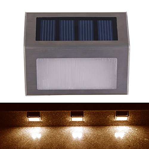 Vakind New Design Outdoor Solar Power 2Led Bright Light Garden Pathway Stairs Lamp (Warm White)