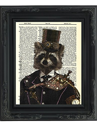 Dictionary Art Print - Steampunk Racoon
