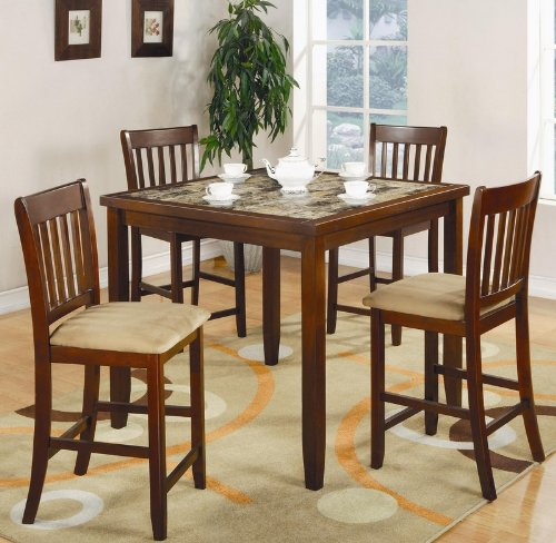 Buy Low Price Coaster 5pc Counter Height Dining Table and Stools Set in Cherry Finish (VF_150154)